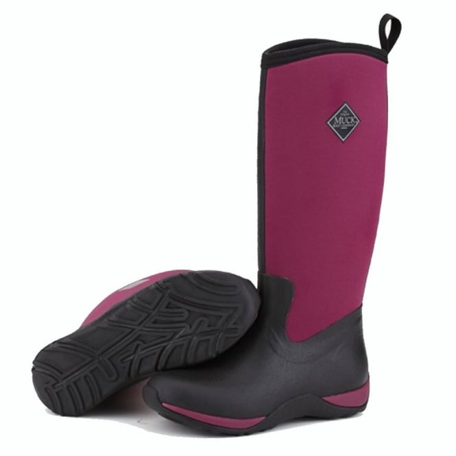 The Muck Boot Company Arctic Adventure Black/Maroon, lightweight, fleece lined neoprene winter welly
