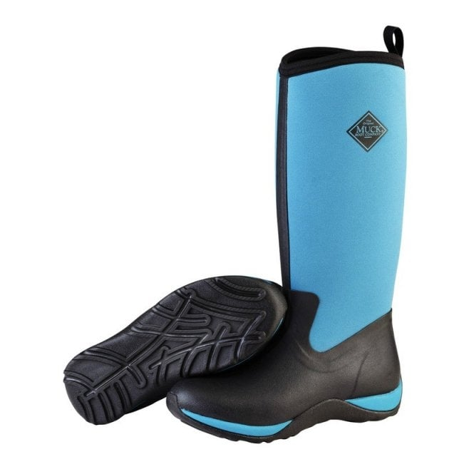 The Muck Boot Company Arctic Adventure Plain Black/Harbour Blue, lightweight, fleece lined neoprene winter welly