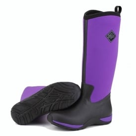 Arctic Adventure Plain Black/Purple, lightweight, fleece lined neoprene winter welly
