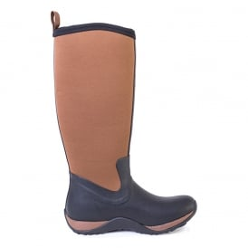 Arctic Adventure Plain Black/Tan, lightweight, fleece lined neoprene winter welly