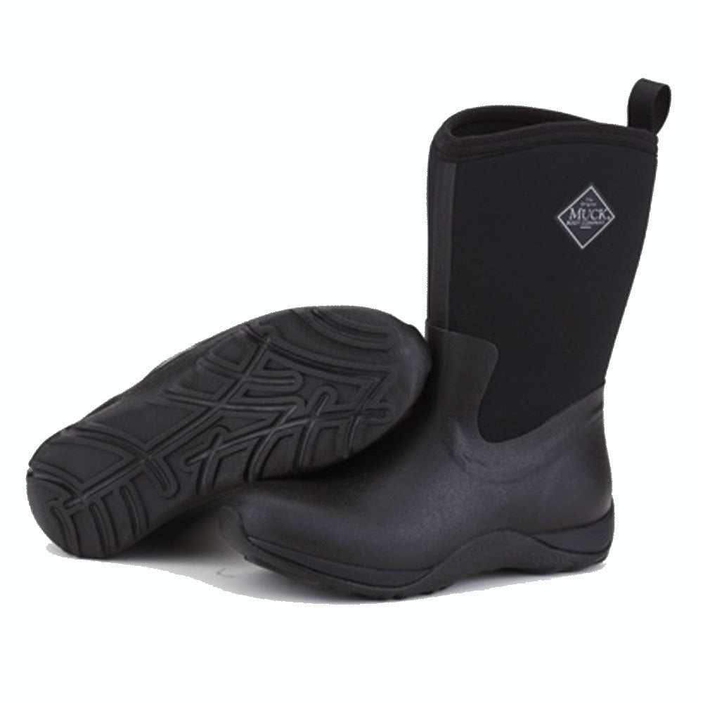 Arctic Weekend Plain Black, Mid height, lightweight, fleece lined neoprene  winter welly