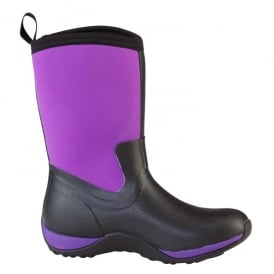 Arctic Weekend Plain Black/Purple, Mid height, lightweight, fleece lined neoprene winter welly
