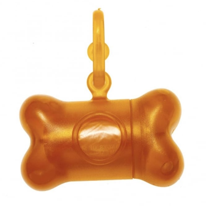 United Pets Bon Ton Translucent Orange, Dog disposal bag holder, includes one roll of bags