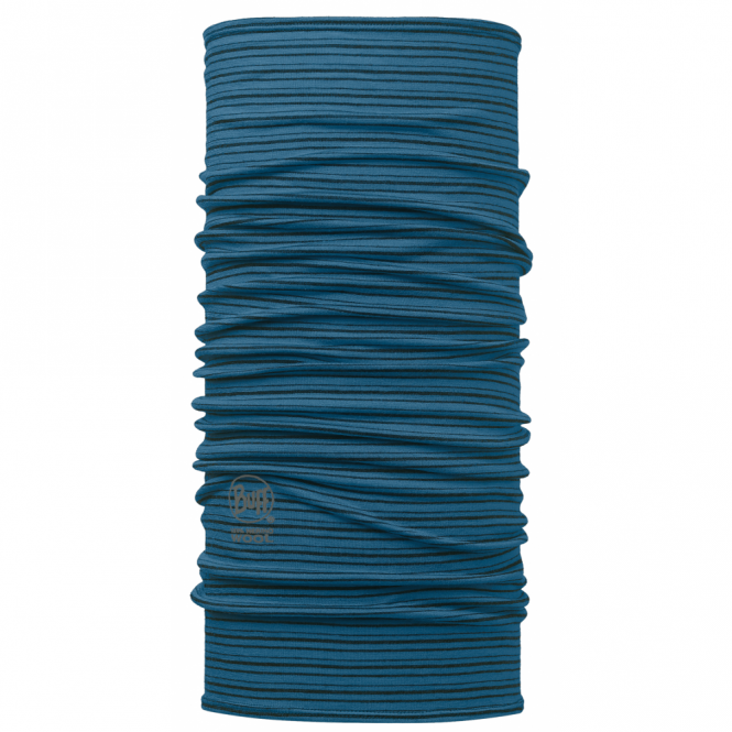 Buff Wool Yarn Dyed Stripes Seaport Blue, Made from 100% Merino wool